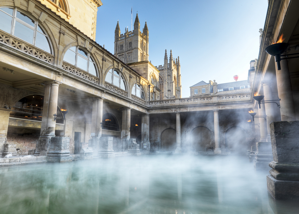 The Roman Baths popular attraction in Bath city centre for holidaymakers