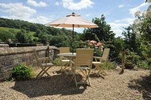 Your private terrace area at Tucking Mill View, our award winning self-catering cottage